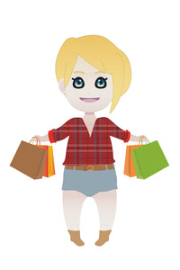 FREE cute blonde girl with shopping bags PNG clipart instant download for Personal Use