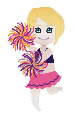 FREE cute cheerleader blonde girl with pom-pom PNG clipart instant download for Personal Use