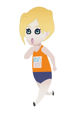 FREE cute blonde girl running a marathon PNG clipart instant download for Personal Use