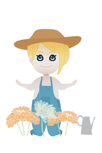 FREE cute gardening blonde girl PNG clipart instant download for Personal Use