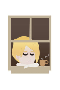 FREE cute blonde girl drinking coffee on a window PNG clipart instant download for Personal Use