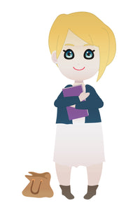 FREE cute blonde student girl PNG clipart instant download for Personal Use