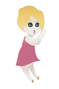 FREE cute blonde girl with her phone PNG clipart instant download for Personal Use