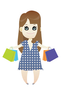 FREE shopping brunette girl wearing a blue polka dot dress PNG clipart instant download for Personal Use