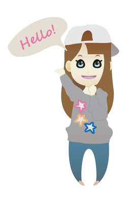 FREE brown haired woman saying hello PNG clipart instant download for Personal Use