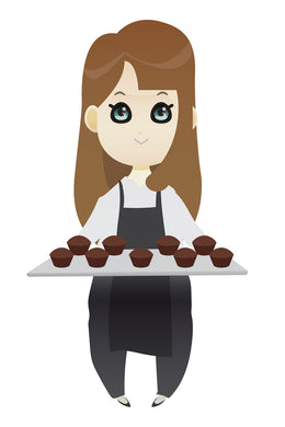 FREE brown haired woman baking cupcakes PNG clipart instant download for Personal Use