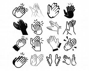 clapping hands svg, dxf, vector, eps, clipart, cricut, download