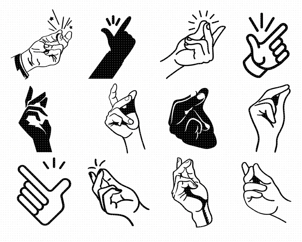 finger snap svg, dxf, vector, eps, clipart, cricut, download