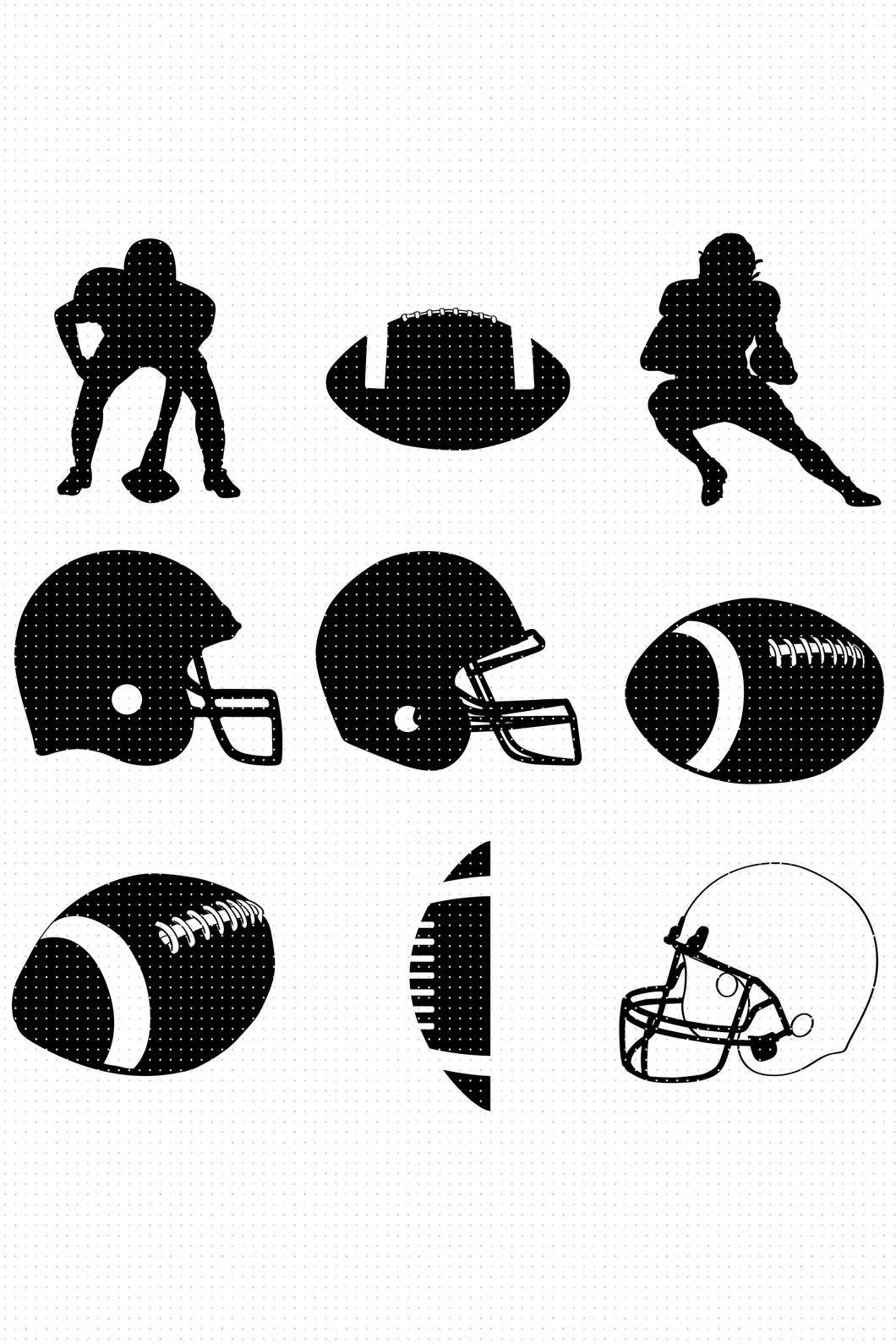 football bundle SVG, PNG, DXF, clipart, EPS, vector cut file instant download