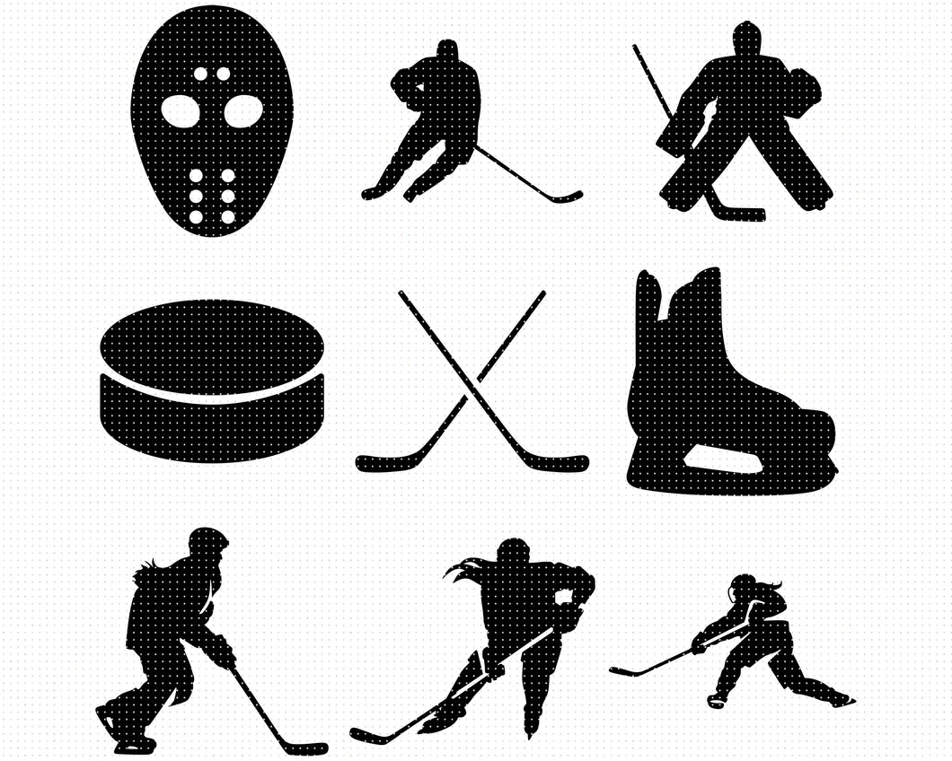female hockey player SVG file, hockey DXF, clipart, eps, vector cut file for cricut and silhouette
