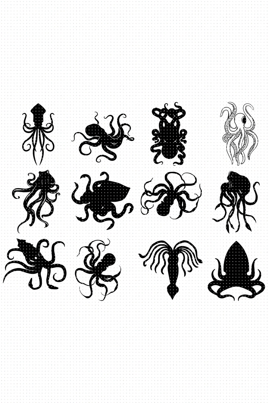 Kraken SVG, Octopus PNG, Giant Squid DXF, clipart, EPS, vector cut file instant download