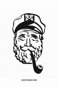 FREE old sailor SVG, sea captain PNG clipart, DXF, clipart, EPS, vector cut file instant download