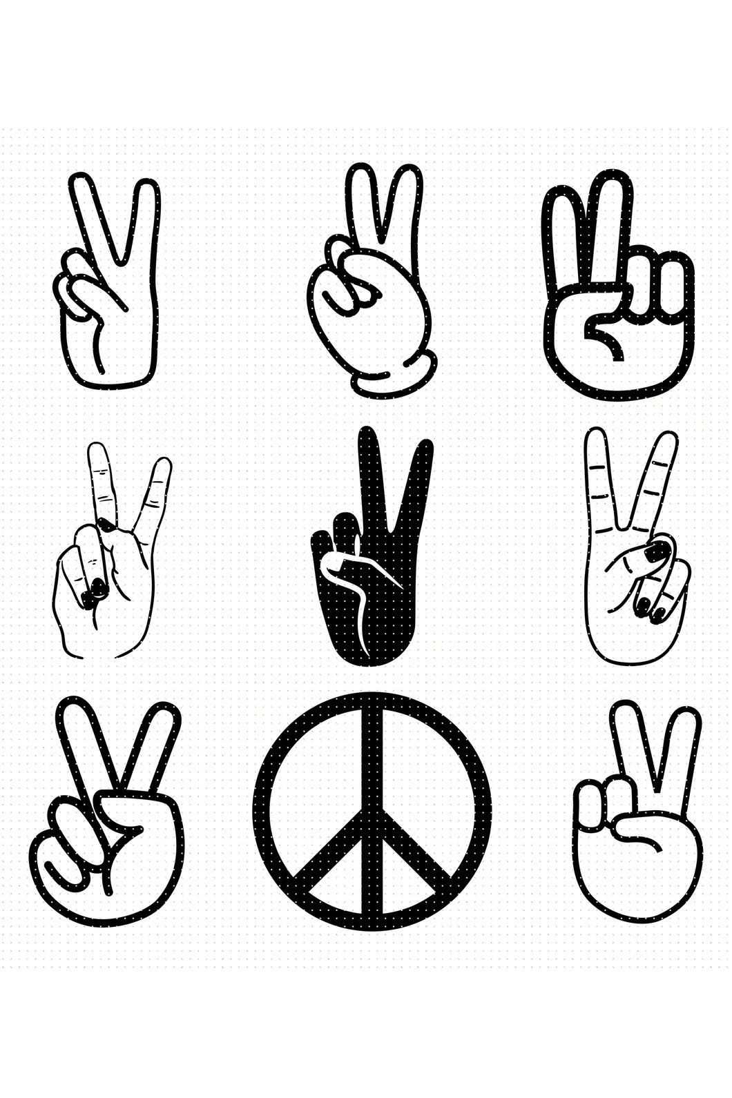 peace hand sign SVG, PNG, DXF, clipart, EPS, vector cut file instant download