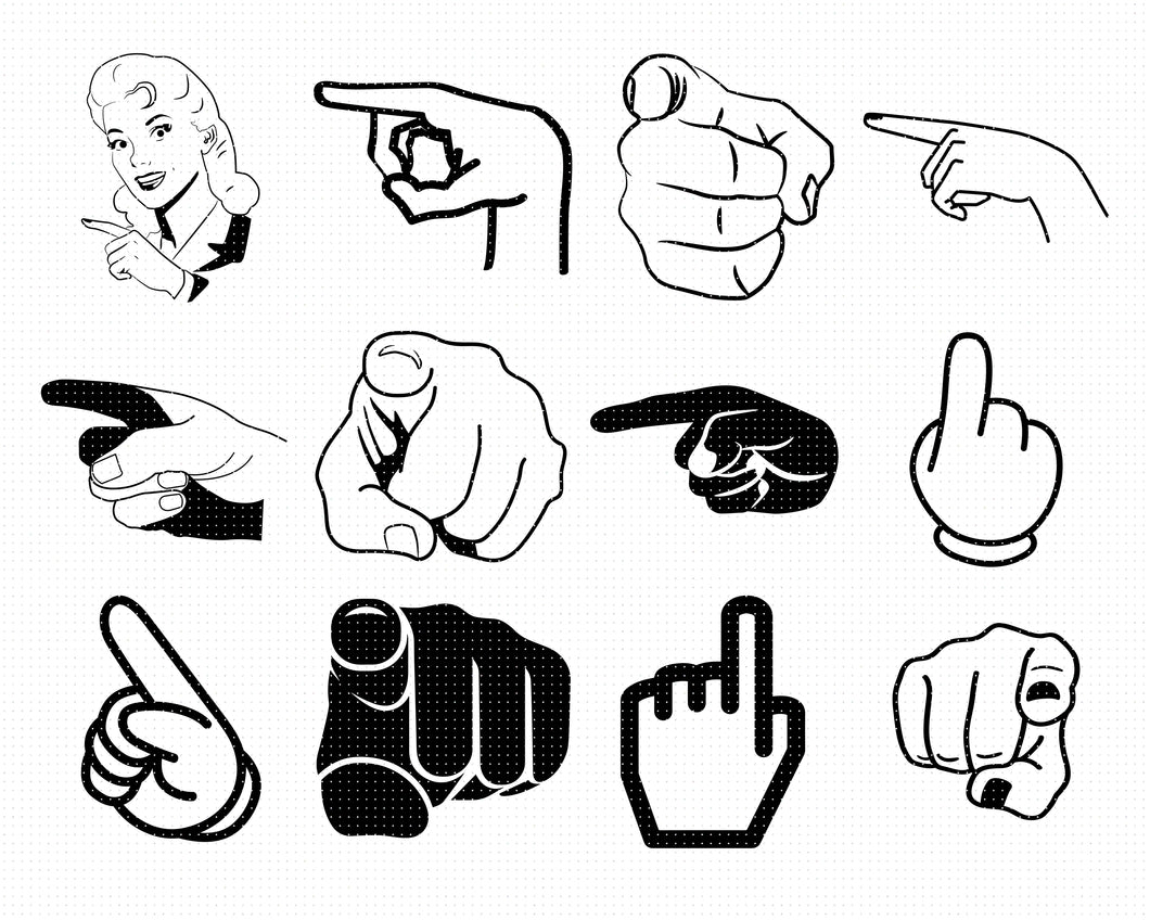 pointing finger svg, dxf, vector, eps, clipart, cricut, download