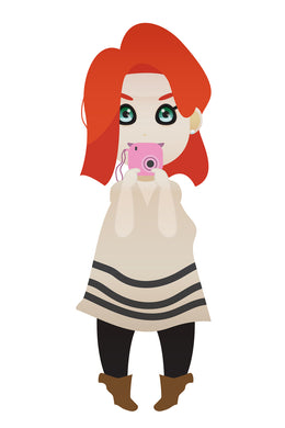 red haired girl taking pictures FREE PNG clipart instant download for Personal Use