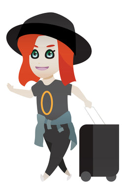 travelling red haired girl wearing a cool hat FREE PNG clipart instant download for Personal Use