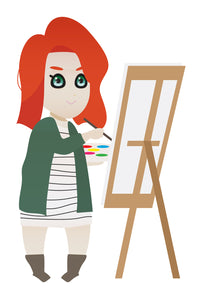Painting red haired girl FREE PNG clipart instant download for Personal Use