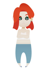 cute when angry red haired girl. FREE PNG clipart instant download for Personal Use