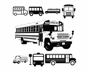 school bus svg, dxf, vector, eps, clipart, cricut, download