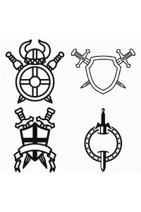 FREE sword and shield coat of arms for Personal Use SVG, PNG clipart, DXF, clipart, EPS, vector cut file instant download