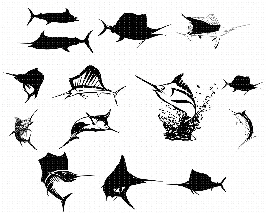 swordfish, sailfish, blue marlin svg, dxf, vector, eps, clipart, cricut, download
