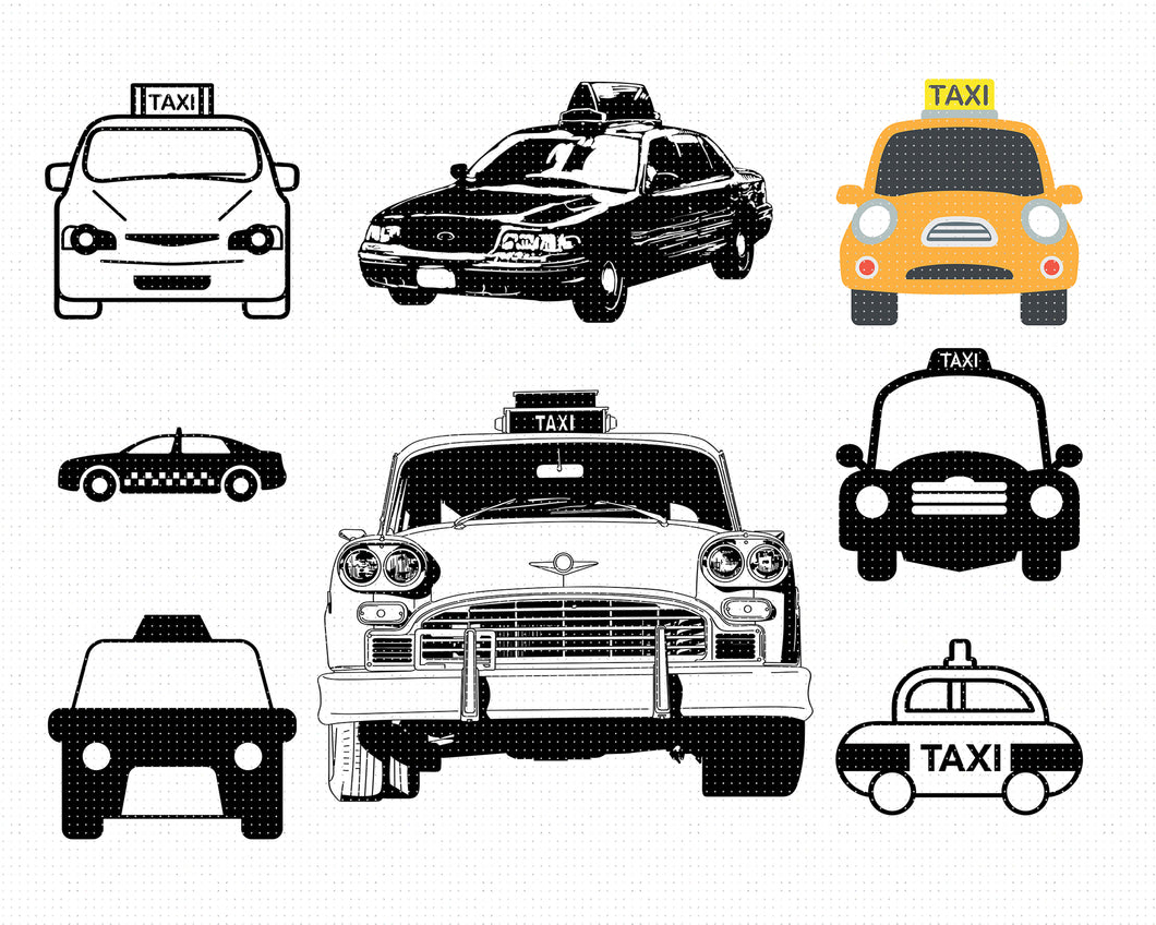 taxi cab svg, dxf, vector, eps, clipart, cricut, download