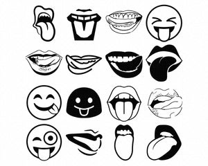 Tongue out svg, dxf, vector, eps, clipart, cricut, download