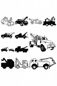 tow truck svg, dxf, vector, eps, clipart, cricut, download