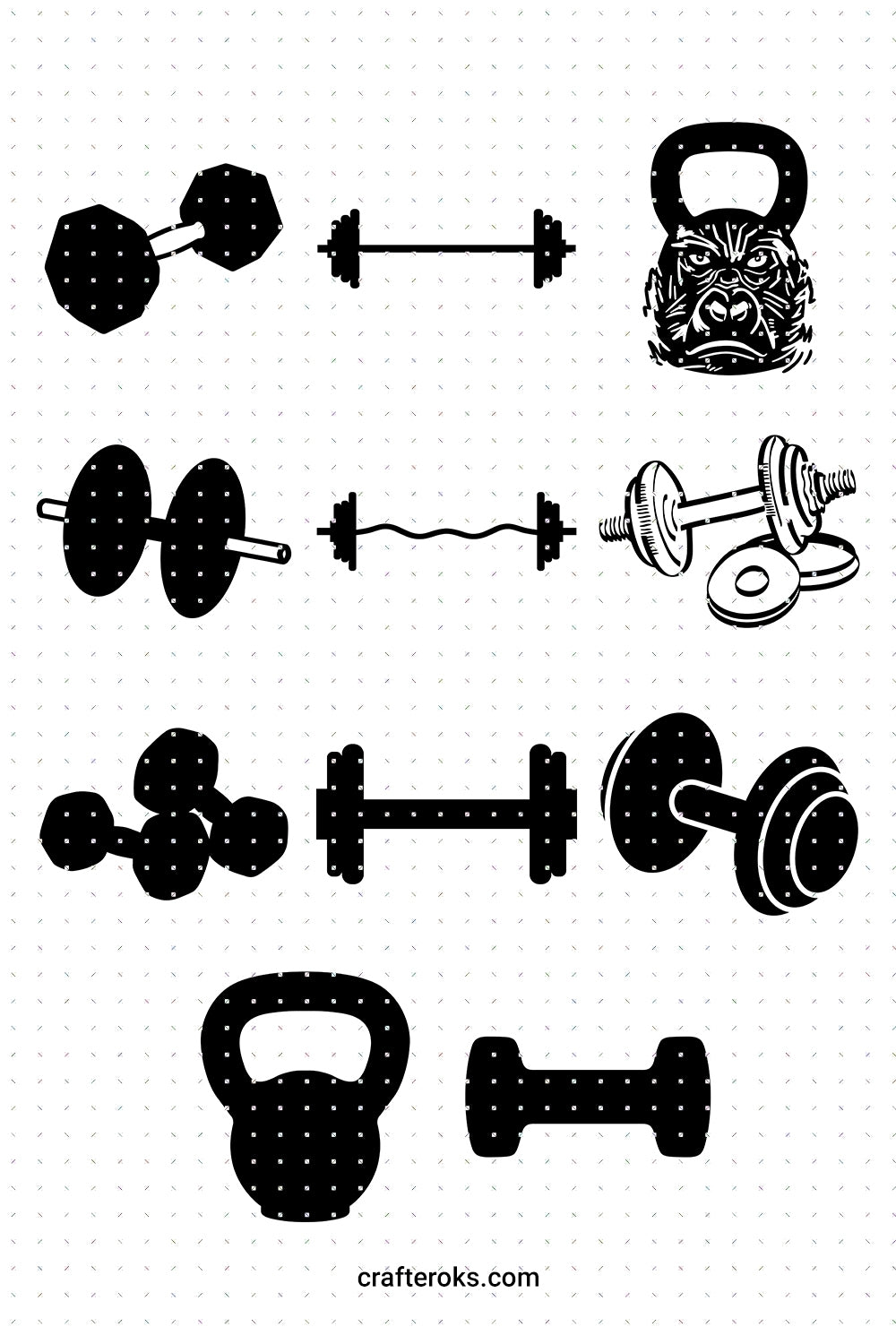 lifting weights SVG, gym equipment PNG, kettlebell DXF, dumbbell clipart, barbell EPS, vector cut file instant download
