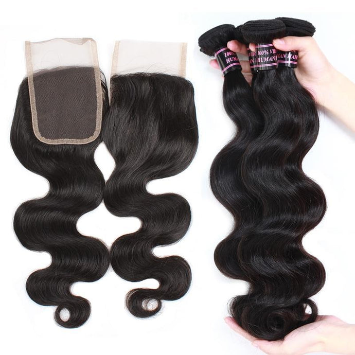 Peruvian Unprocessed Body Wave Virgin Human Hair 3 Bundles With Lace Closure hair weaves hair extension hair bundles with closure