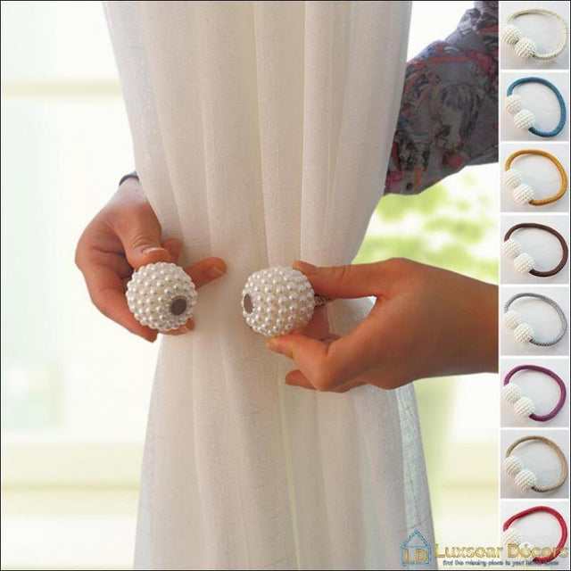 A Pair of Magnetic Pearl Curtain Tie Backs - Luxsear Décors