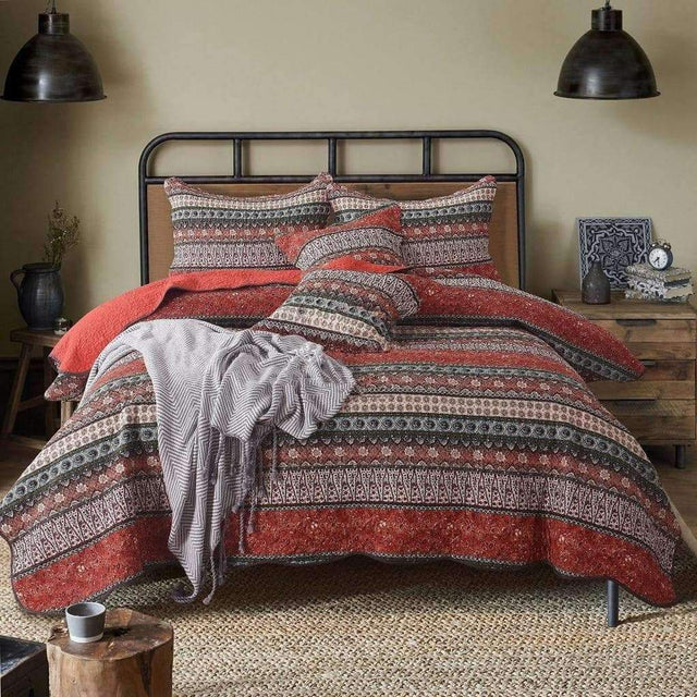 Bohemian Style Quilted Bedspread 3 Pieces - Luxsear Décors