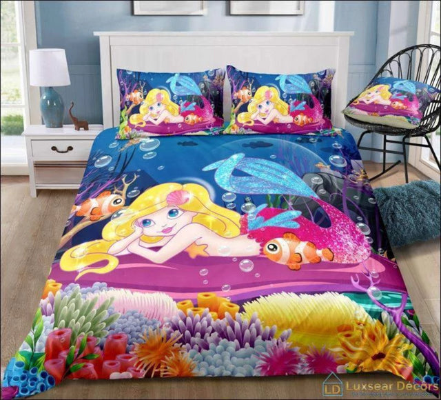 Mermaid Bedding In Bed with Ariel & Nemo - Luxsear Décors