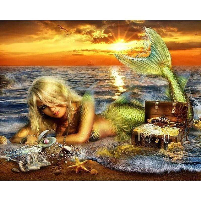 Mermaid on the Beach - Diamond Painting Full Square Diamonds
