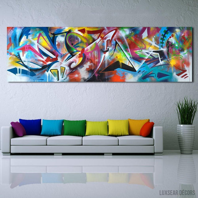 Splatter Of Colours Abstract Oil Painting Canvas