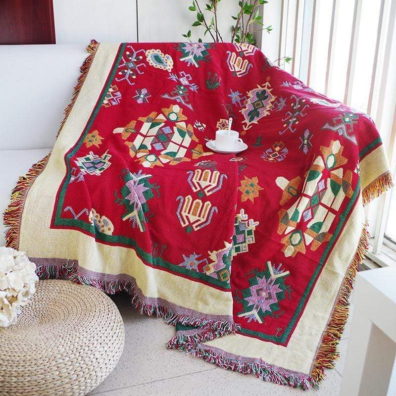 Thick Geometry Design Cotton Knitted Throw Blankets