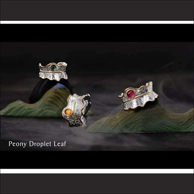 Tourmaline Peony Leaf Ring - Silver - Gemstone Ring