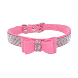 Pet Collar Shiny Rhinestone Bowknot