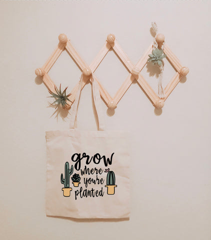 Grow Where You're Planted Canvas Tote