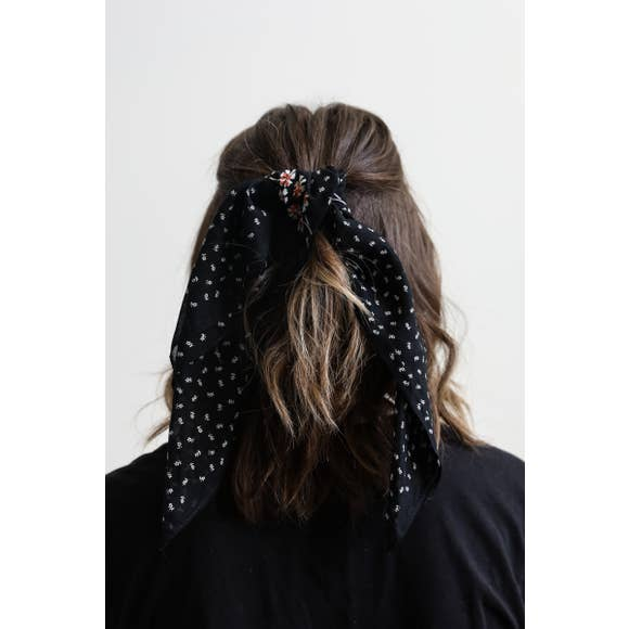 Black Dot & Floral Bandana