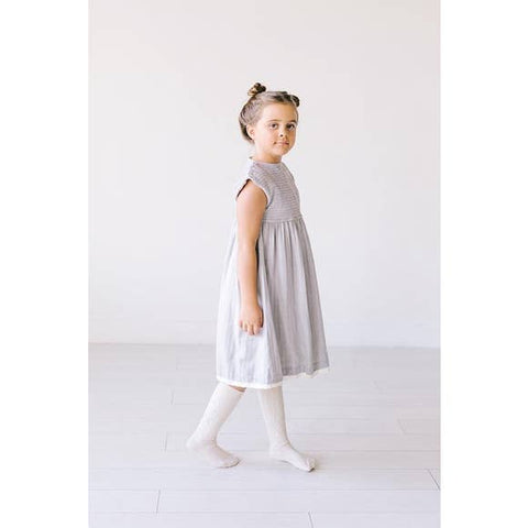 Herringbone Button Shoulder Smock Dress