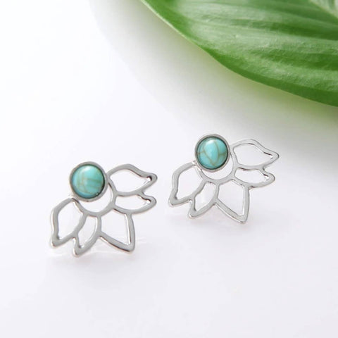Turquoise Lotus Earrings