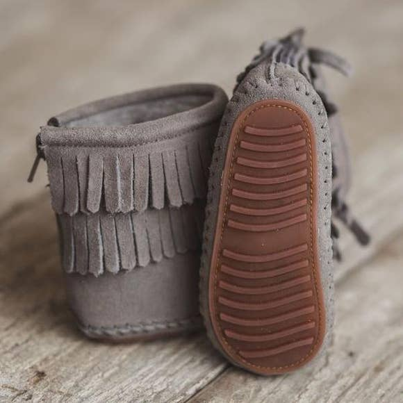 Gray Moccasin Boot