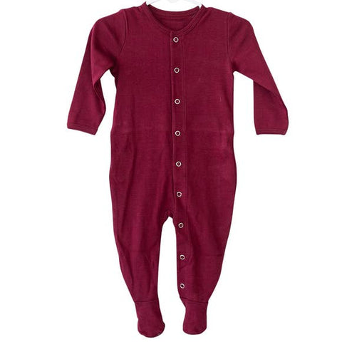 Organic Button Footie w/ Explorer Back | Maroon