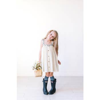Waddlesworth Natural Cotton Embroidered Strap Dress