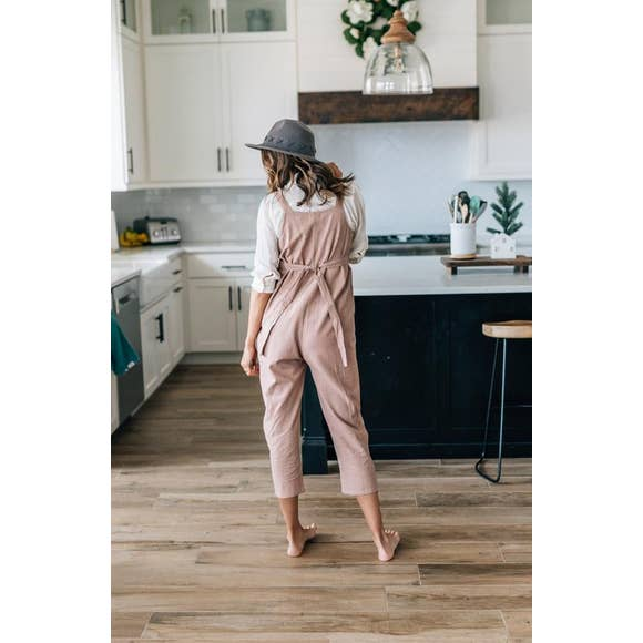 Women's Rosewood Linen Button Strap Jumpsuit