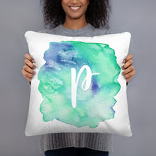 "Load image into Gallery viewer, Watercolour ""p"" Pillow"