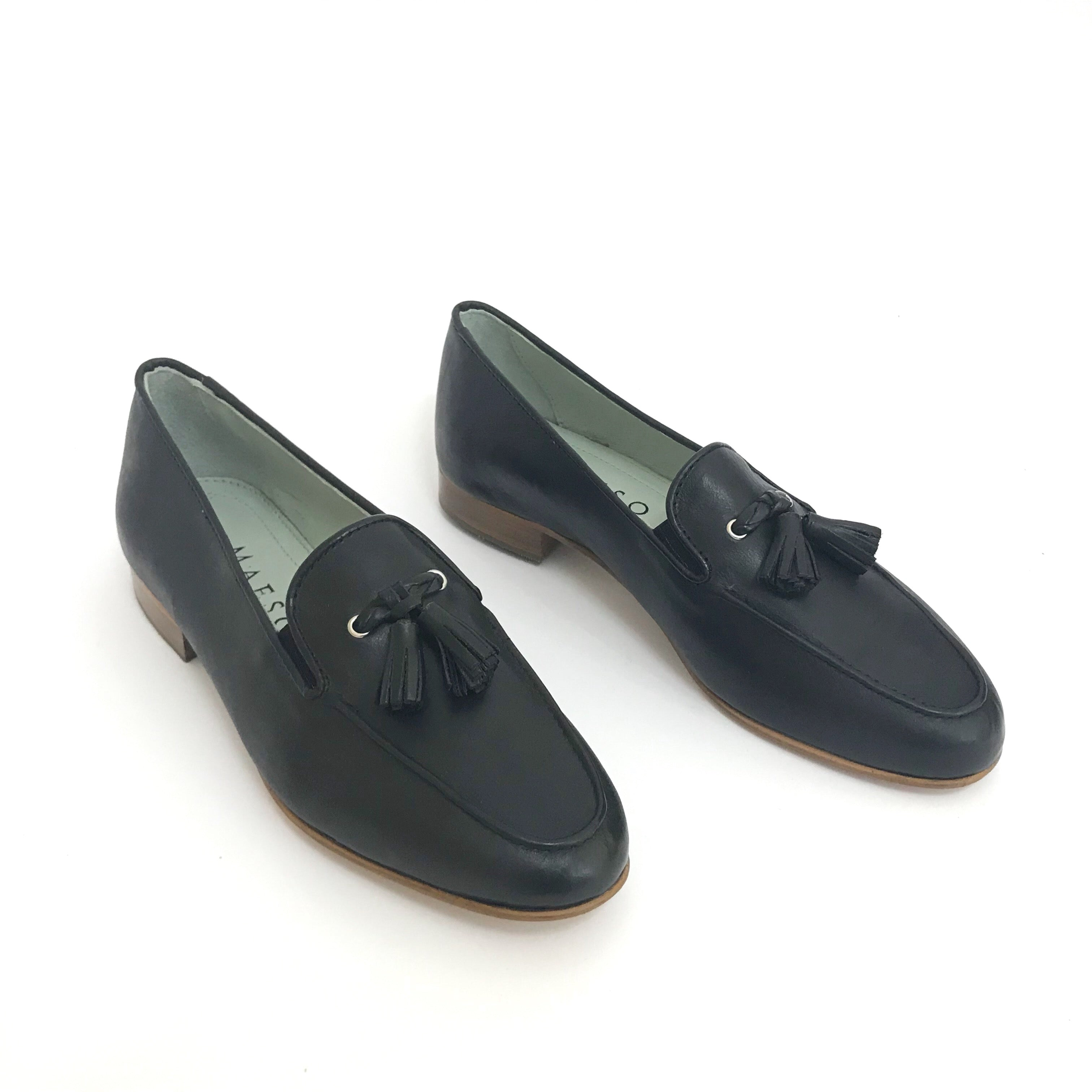 Wide Fit Black Women Italian Comfortable Vegetable Tanned Leather Slip on Loafer Shoe