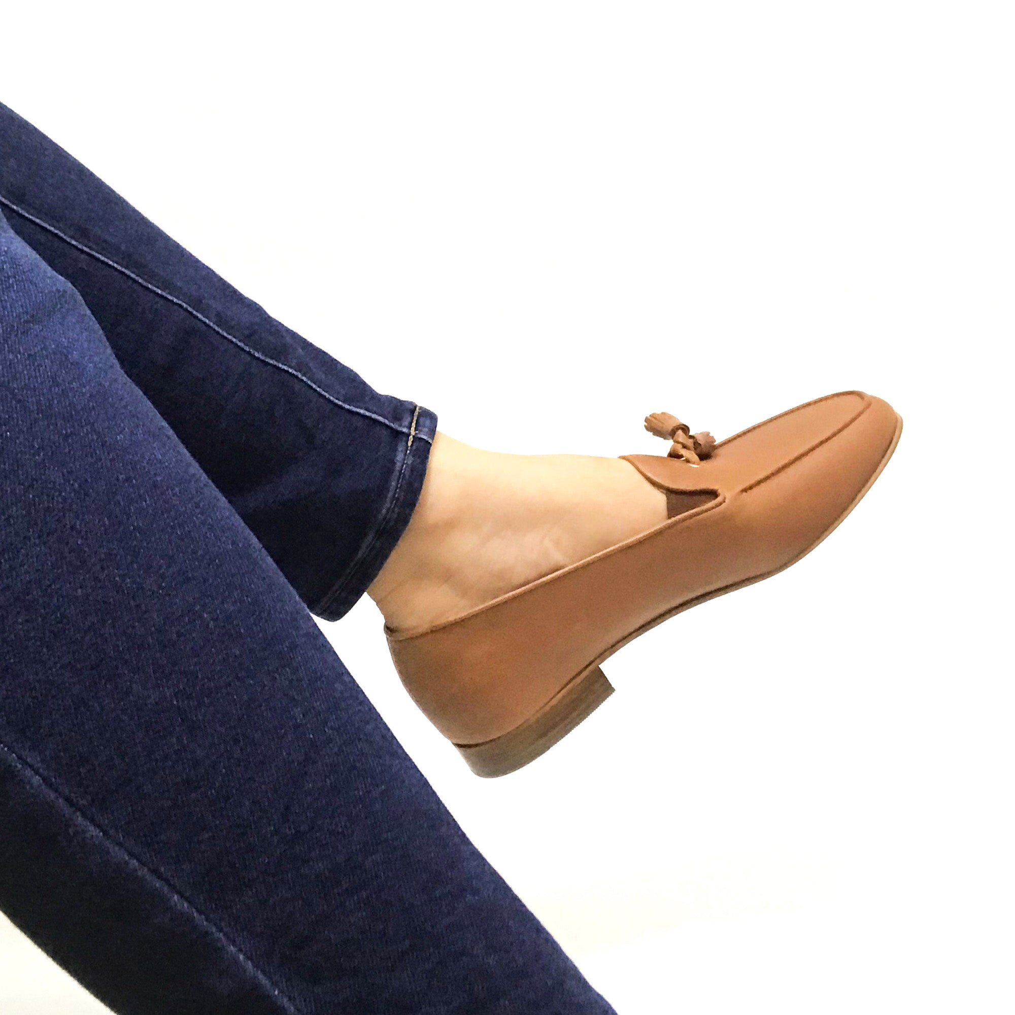Wide Fit Tan Ladies Italian Comfortable Leather Slip on Loafer Shoe