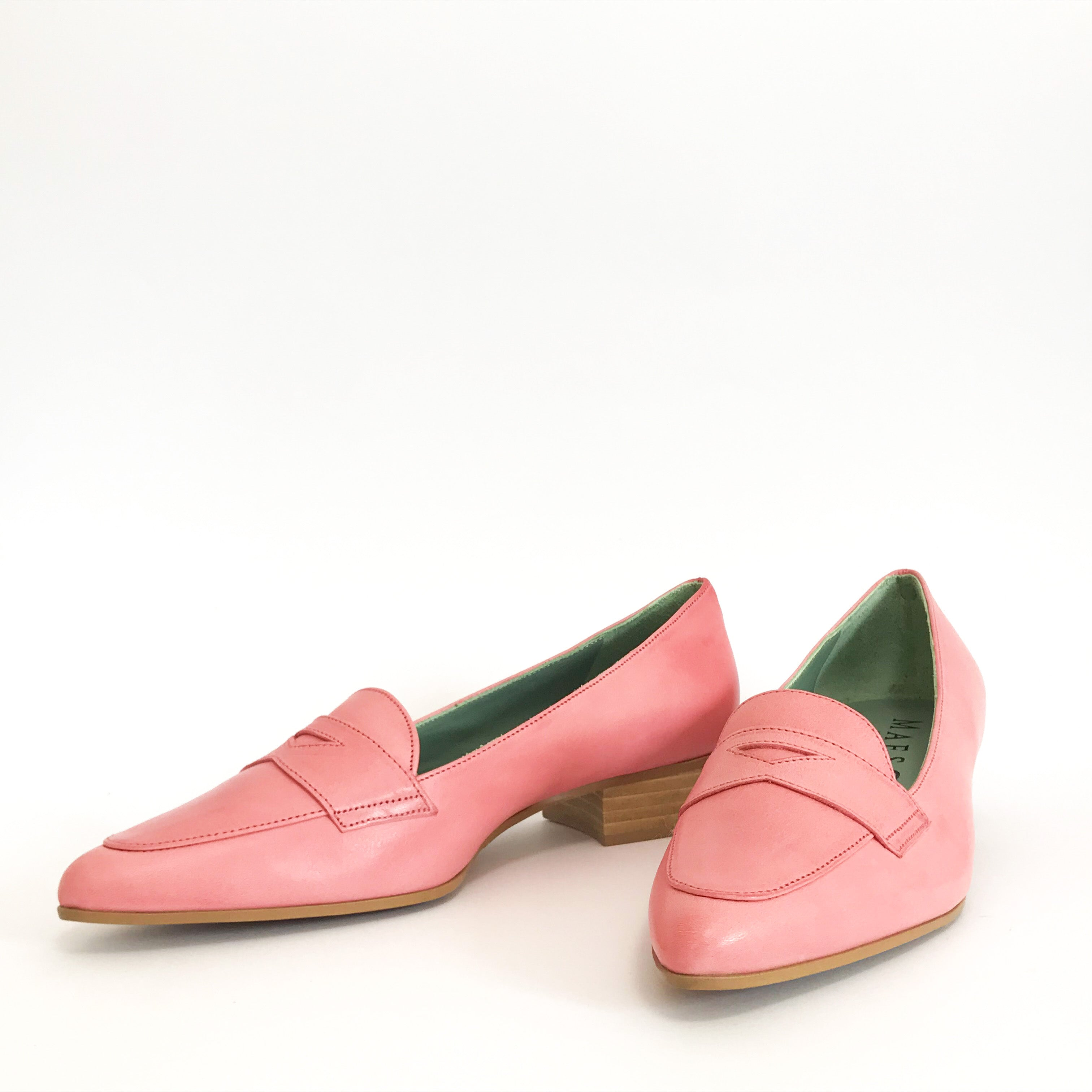 Fuchsia Pink Women Ladies Italian Vegetable Tanned Leather Low Heel Dress Shoe Loafer